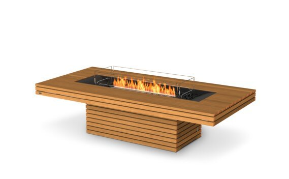 Gin 90 (Chat) Fire Pit - Ethanol - Black / Teak / Optional Fire Screen by EcoSmart Fire