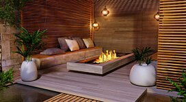 Linear Curved 65 Fire Pit Kit - In-Situ Image by EcoSmart Fire