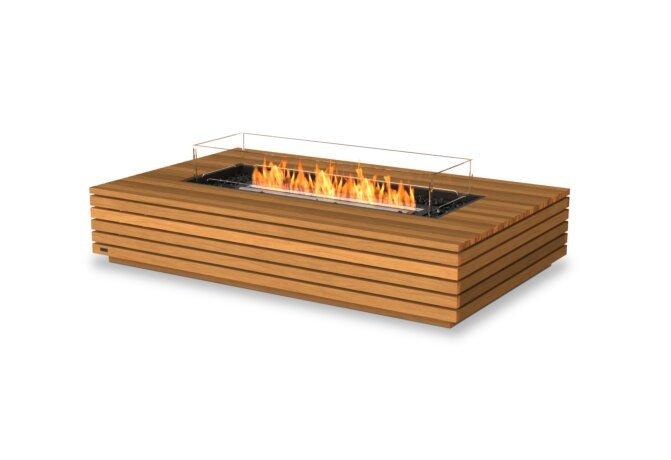 Wharf 65 Fire Pit - Ethanol - Black / Teak / Optional Fire Screen by EcoSmart Fire