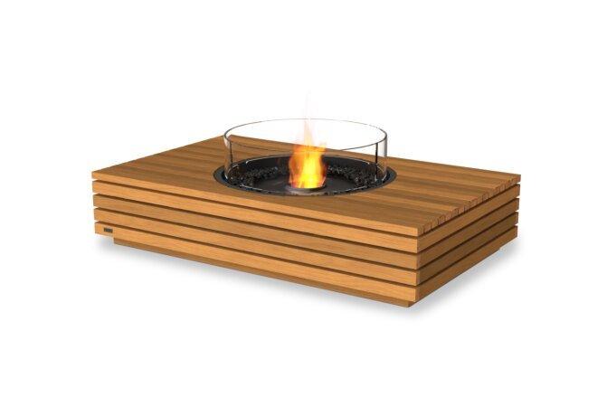 Martini 50 Fire Pit - Ethanol - Black / Teak / Optional Fire Screen by EcoSmart Fire